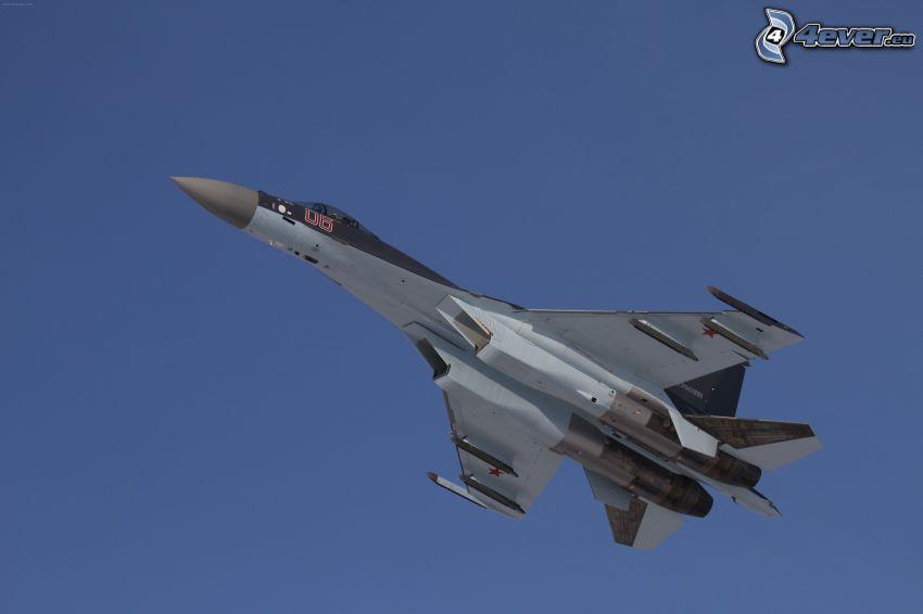 Jagdflugzeug, blauer Himmel