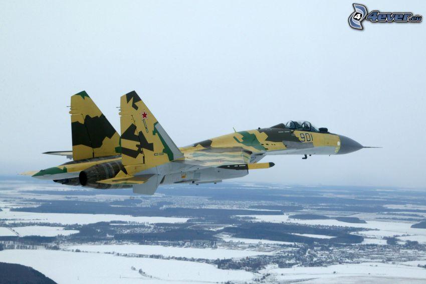 Jagdflugzeug, verschneite Landschaft