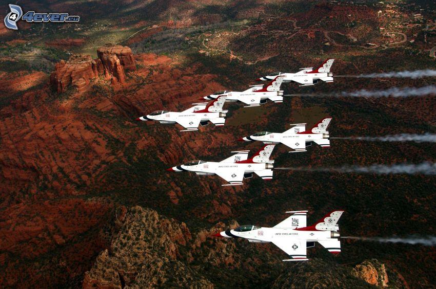 Jagdflugzeuge, Aussicht auf die Landschaft