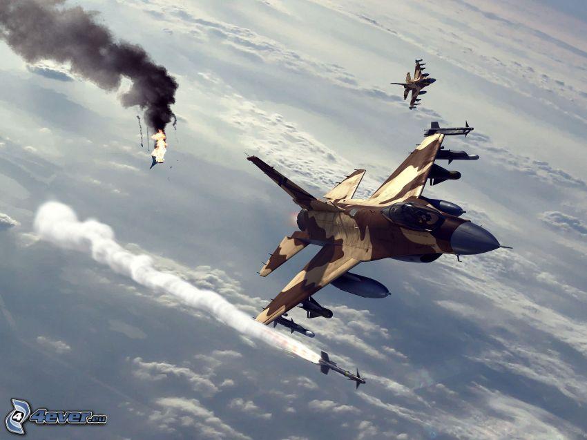 Jagdflugzeuge, über den Wolken