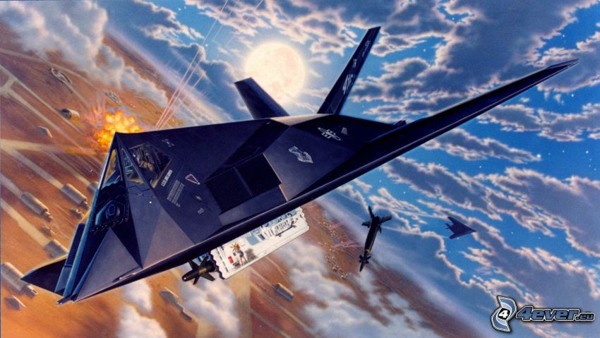 Lockheed F-117, Wolken, Cartoon
