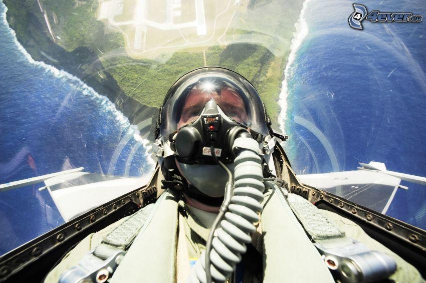 Pilot im Jagdflugzeug