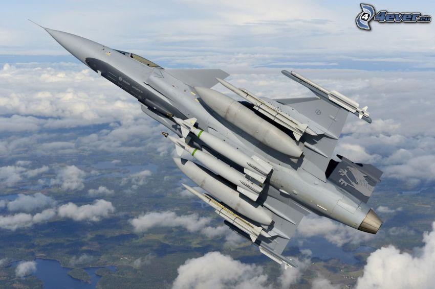 Saab JAS 39 Gripen, über den Wolken