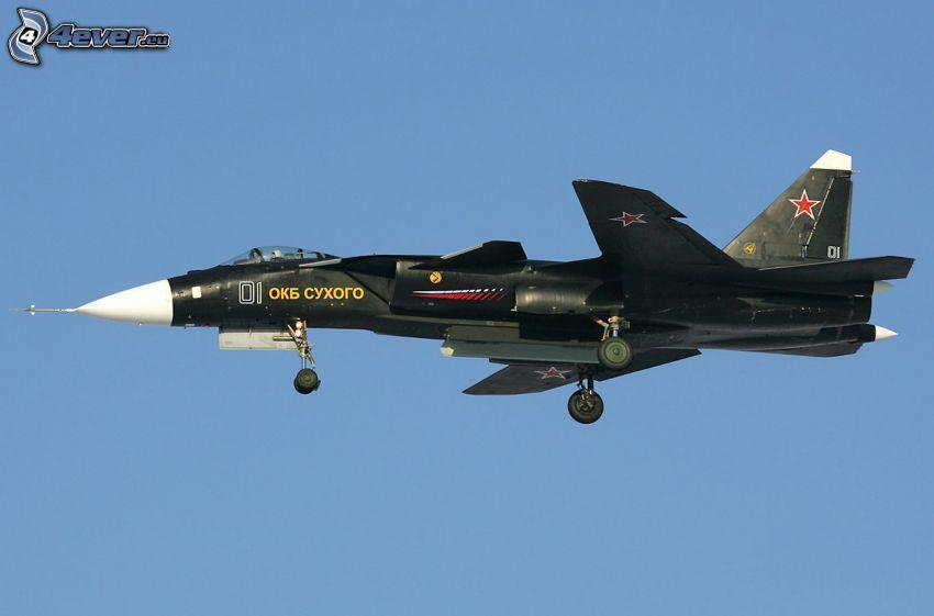 Sukhoi Su-47, Jagdflugzeug, blauer Himmel