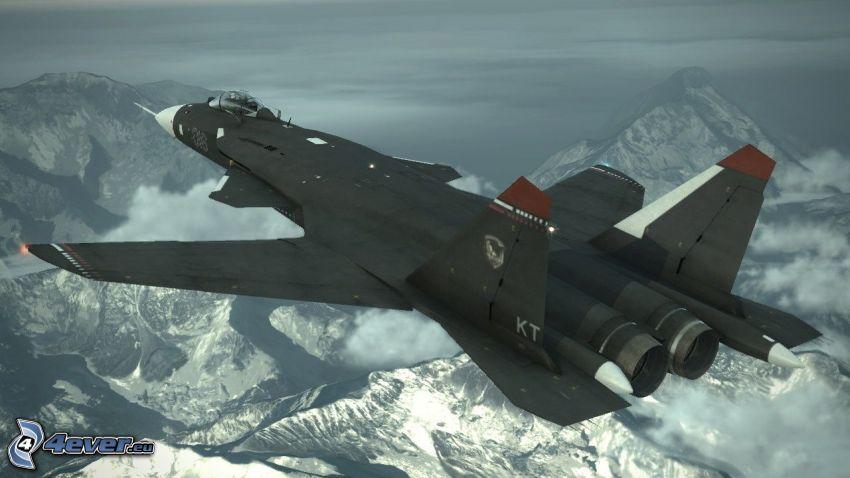 Sukhoi Su-47, schneebedeckte Berge
