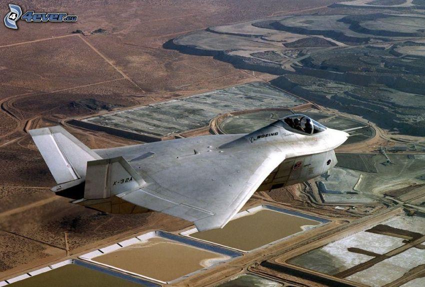 X-32A, Jagdflugzeug, Aussicht auf die Landschaft