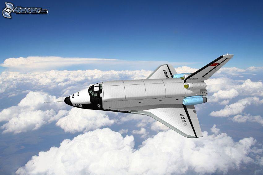 Russischer Shuttle Buran, Space Shuttle, über den Wolken