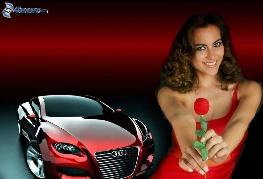 Brünette, rotes Kleid, rote Rose, Audi
