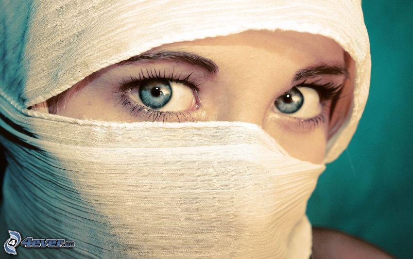 Burka, arabische Frau, Augen
