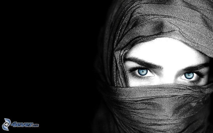 Burka, arabische Frau, blaue Augen