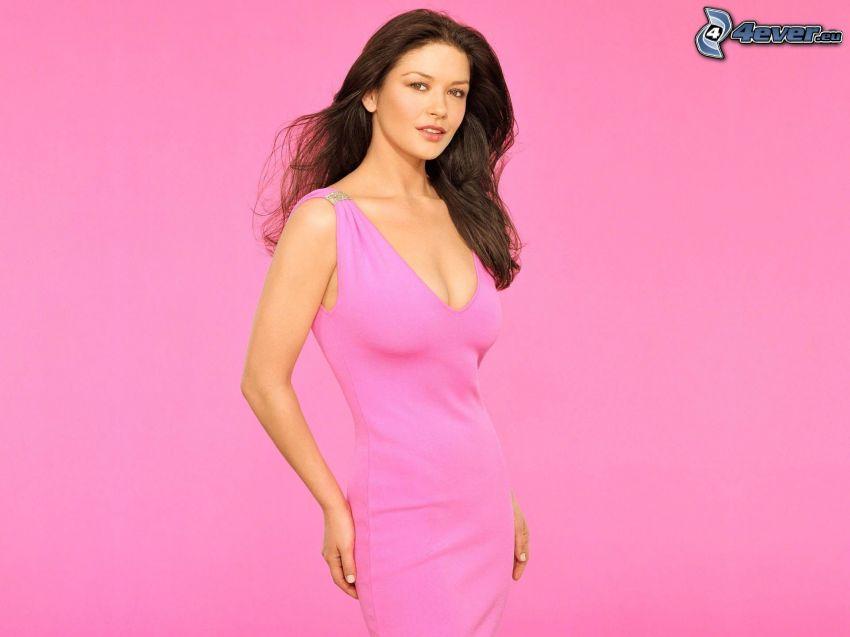 Catherine Zeta-Jones, rosa Hintergrund