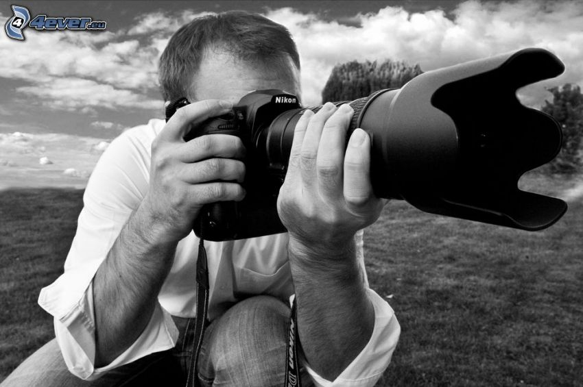 Fotograf, Kamera, Nikon, schwarzweiß
