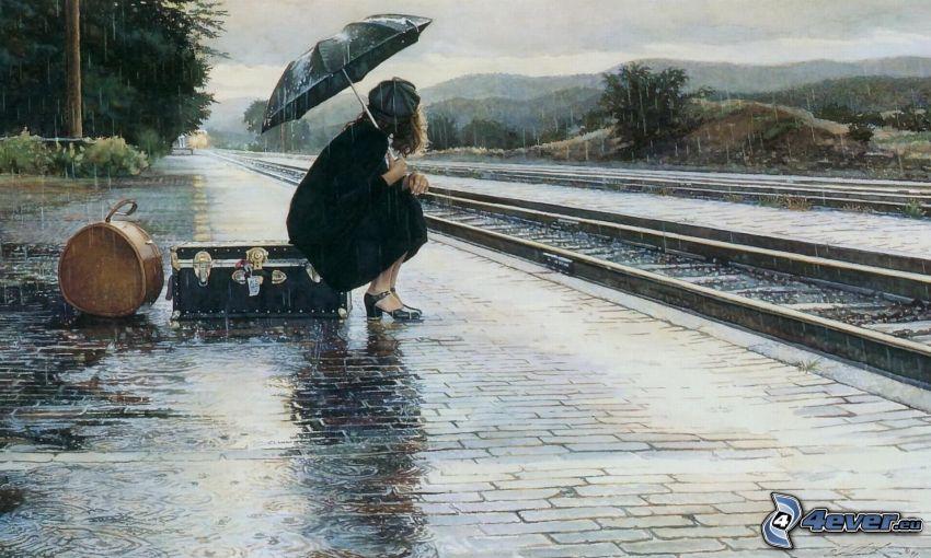 Frau im Regen, Schienen, Bahnhof