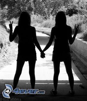 Gruß, Freundschaft, Schatten, Straße
