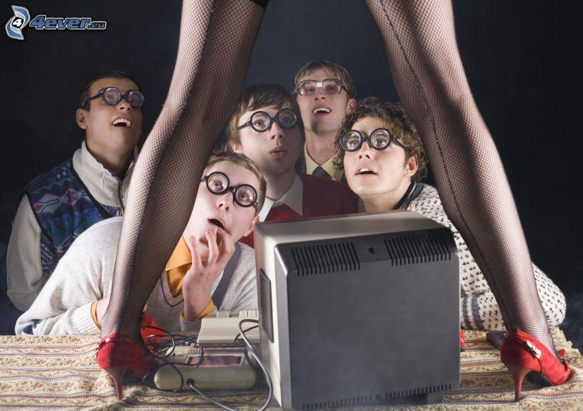 Jungen, Beine, netze Strumpfhosen