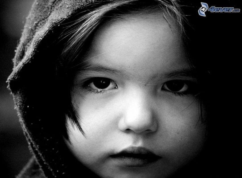 Gesicht des Kindes, Mädchen, Trauer, Schwarzweiß Foto
