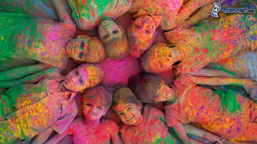 Kinder mit Farben, Farben