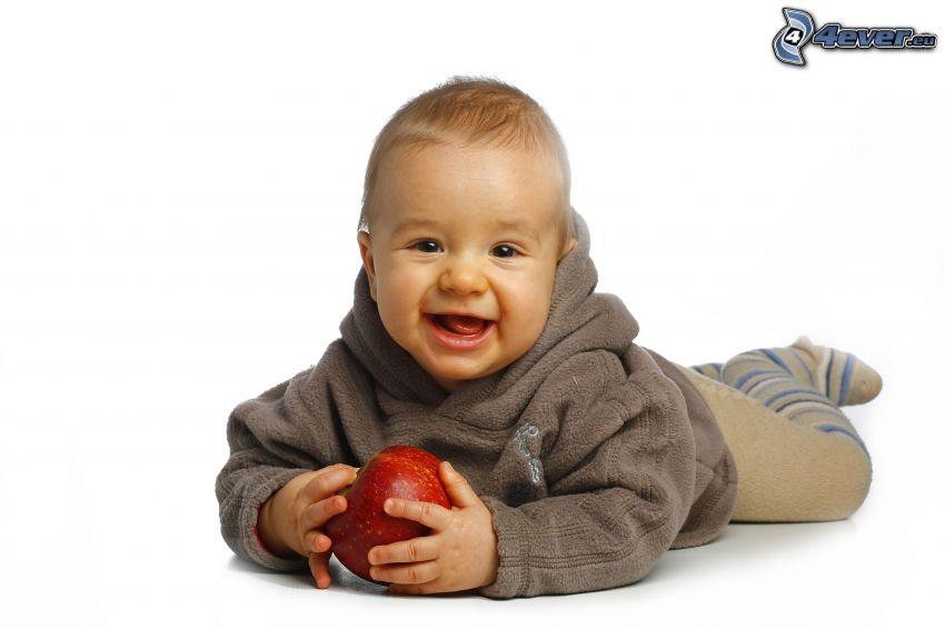 kleinen Jungen, roter Apfel, Lächeln