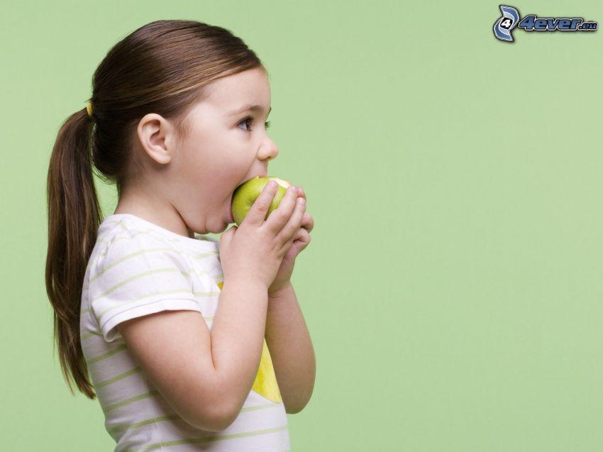 Mädchen, Apfel