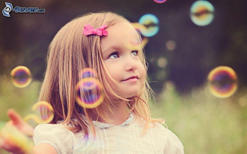 Mädchen, Blasen, Blick
