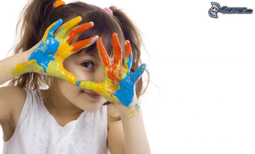Mädchen, Hände, Farben