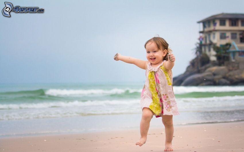 Mädchen, Lächeln, Strand, Meer