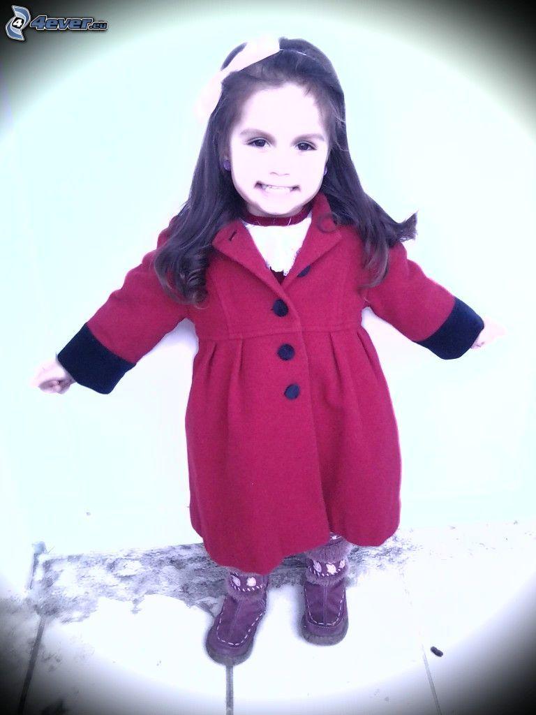Mädchen, Mantel, Lächeln