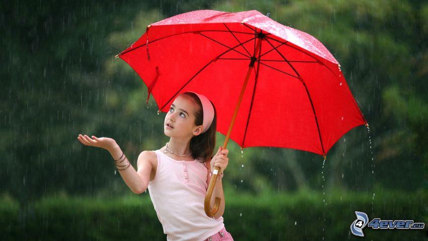 Mädchen, Regenschirm