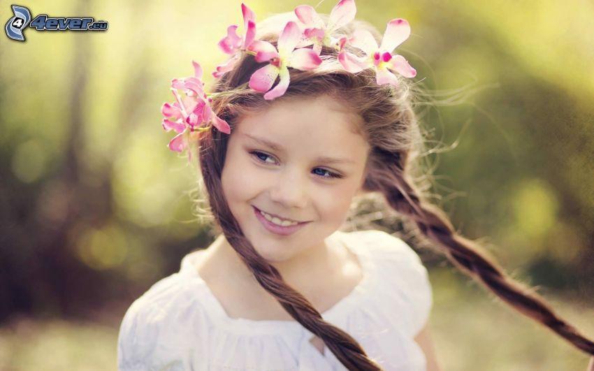 Mädchen, rosa Blumen, Lächeln
