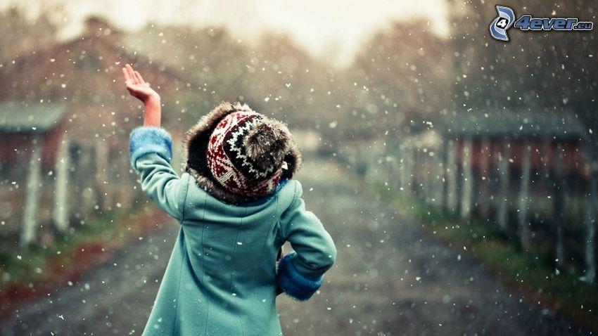Mädchen, Schneeflocken