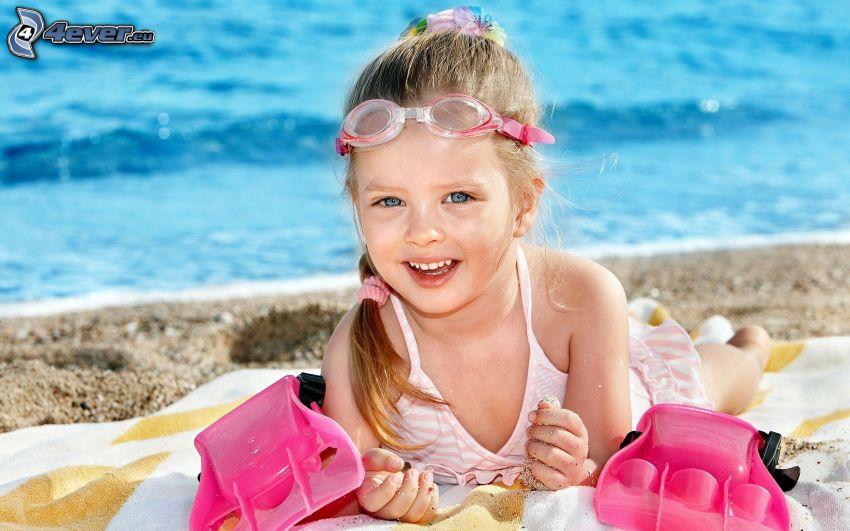 Mädchen, Taucherbrille, Strand, Meer