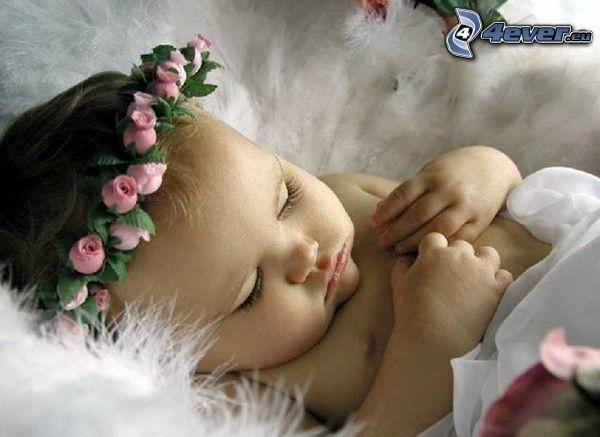 schlafendes Baby, Blumen, Schlafen