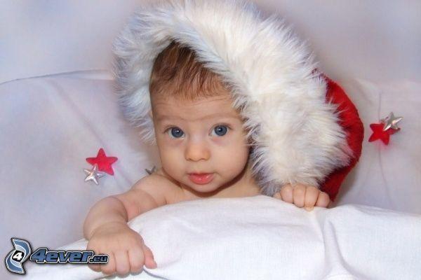 weihnachtliches Baby, Nikolaus Mütze, Baby