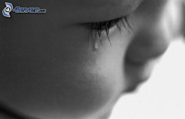 weinendes Baby, trauriges Auge