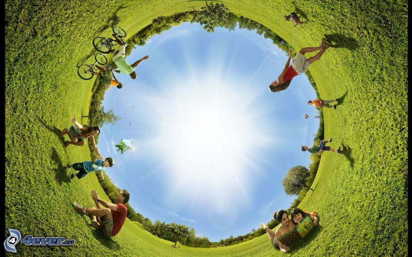 Kreis, Menschen, Wiese