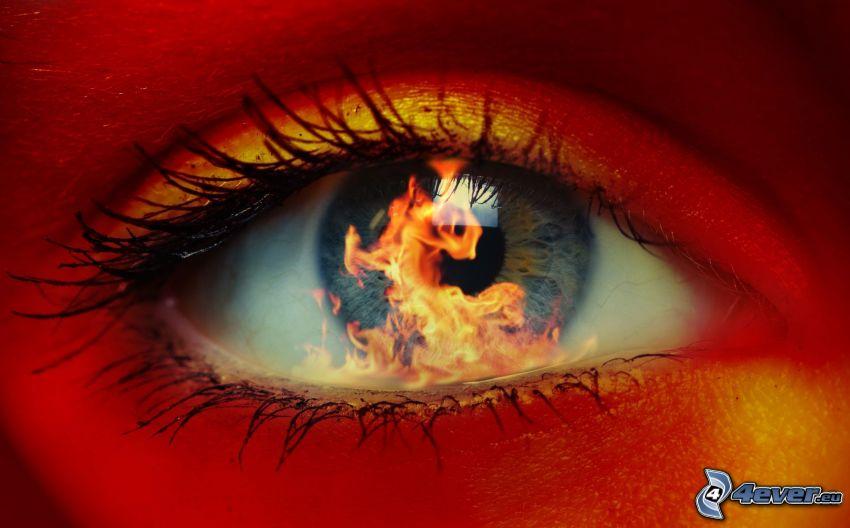 Auge mit dem Feuer