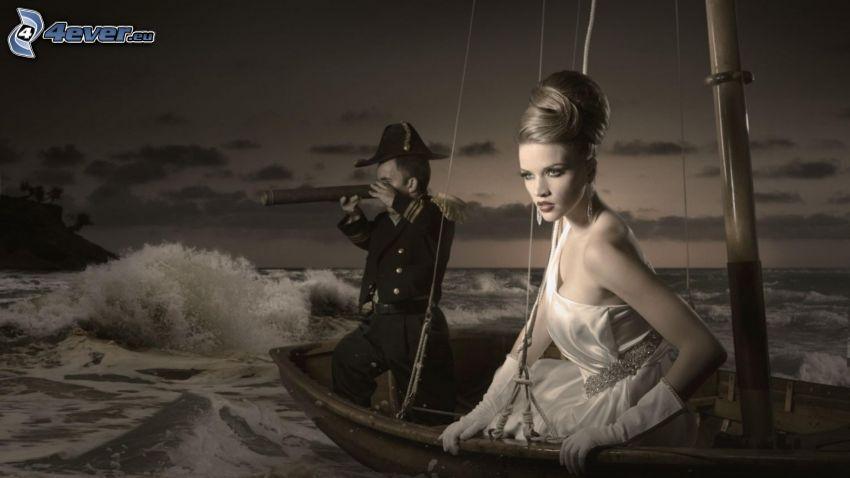 Blondine, weißes Kleid, Boot, Seemann, Meer