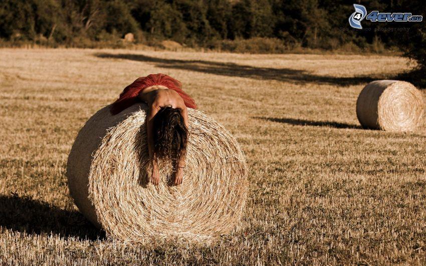 Brünette, topless, Heu nach der Ernte