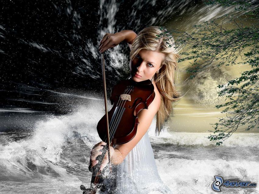 Mädchen mit der Geige, Geige spielen