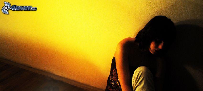 trauriges Mädchen, Einsamkeit, Schatten