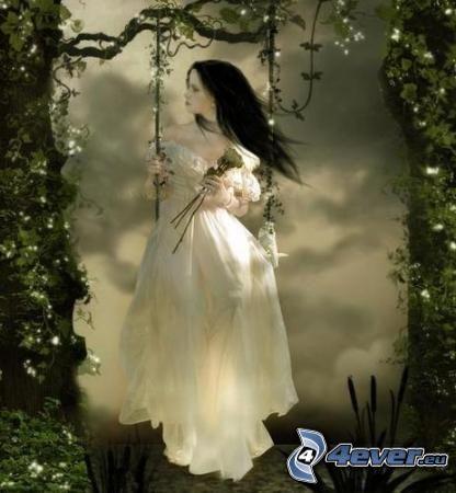 Mädchen auf einer Schaukel, Gotik