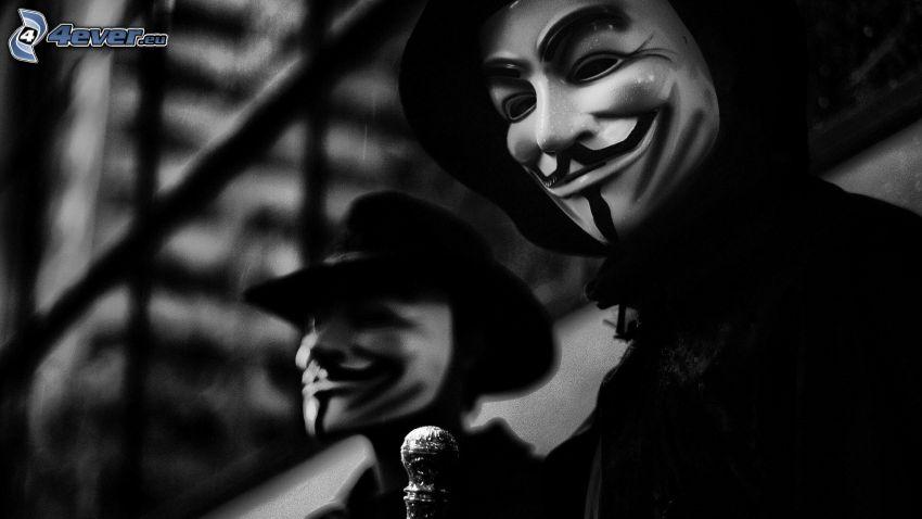 Mann, Maske, Schwarzweiß Foto
