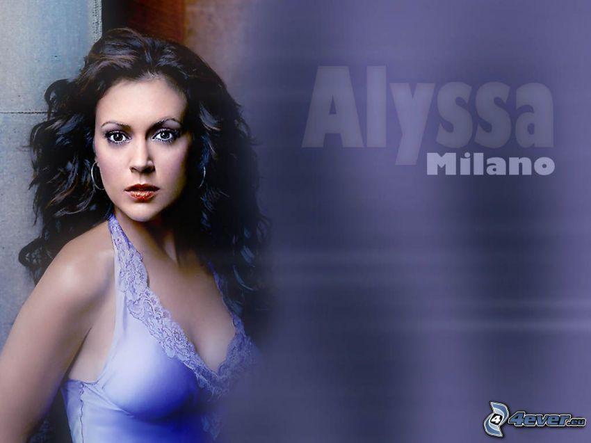Alyssa Milano, Schauspielerin, Phoebe, eine Hexe, Charmed, braun haarig Frau, blaues Hemd