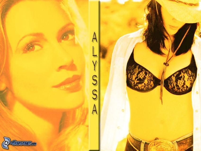 Alyssa Milano, Schauspielerin, Phoebe, eine Hexe, Charmed, braun haarig Frau, Hut, Gürtel