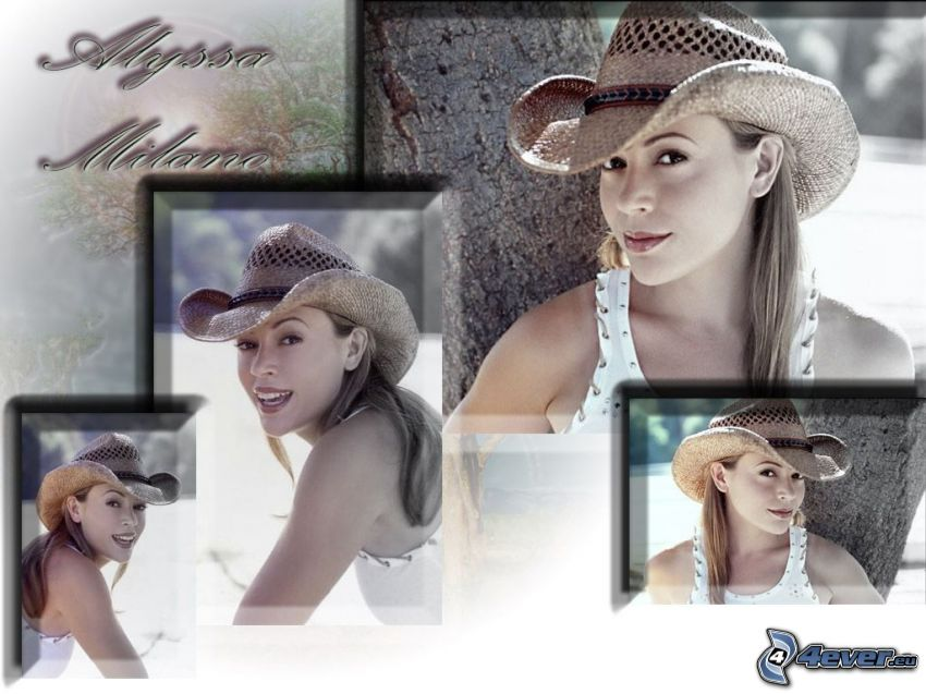 Alyssa Milano, Schauspielerin, Phoebe, eine Hexe, Charmed, braun haarig Frau, Hut