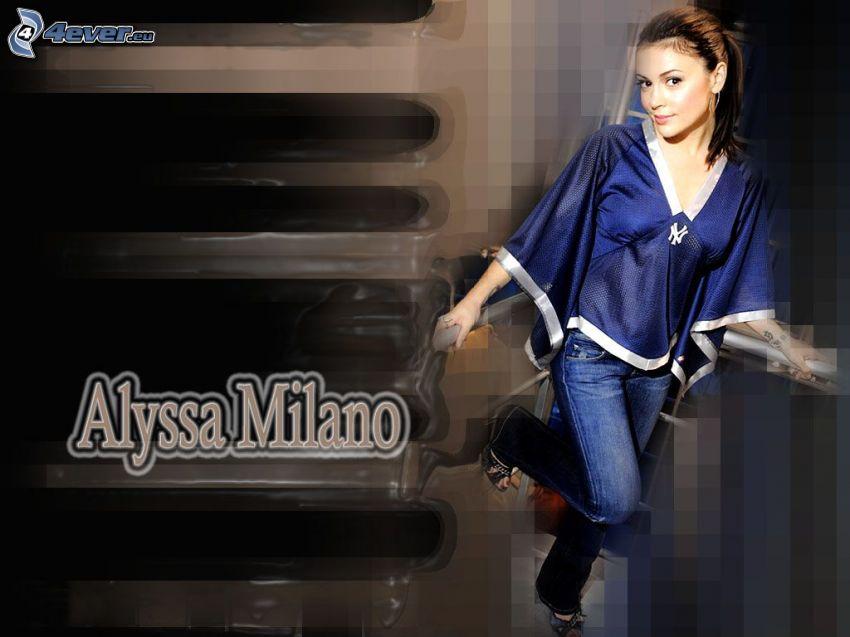 Alyssa Milano, Schauspielerin, Phoebe, eine Hexe, Charmed, braun haarig Frau, Jeans, T-shirt