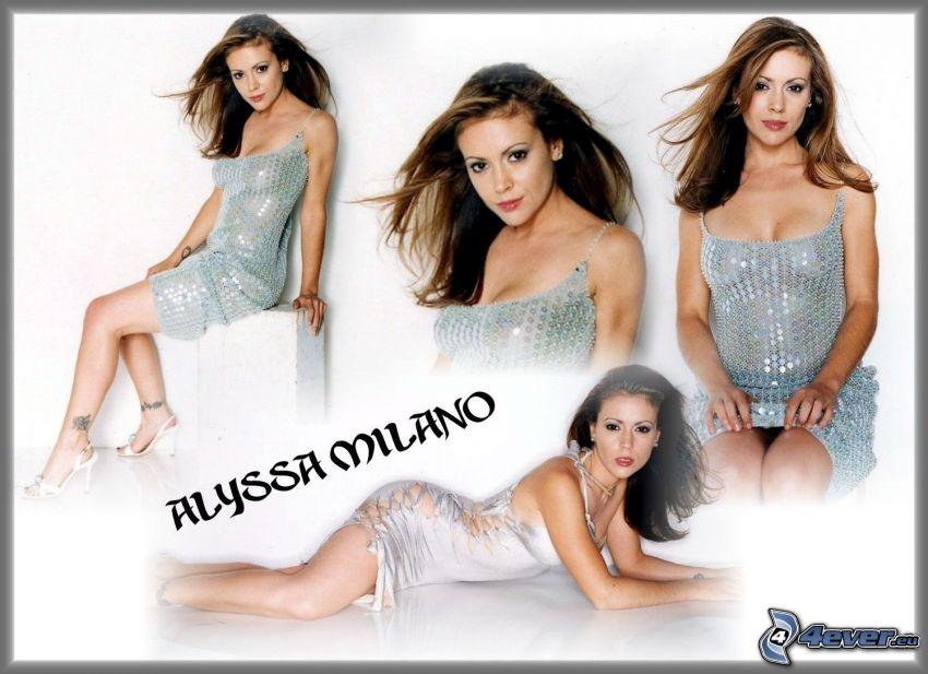 Alyssa Milano, Schauspielerin, Phoebe, eine Hexe, Charmed, braun haarig Frau, Pailletten-Kleid
