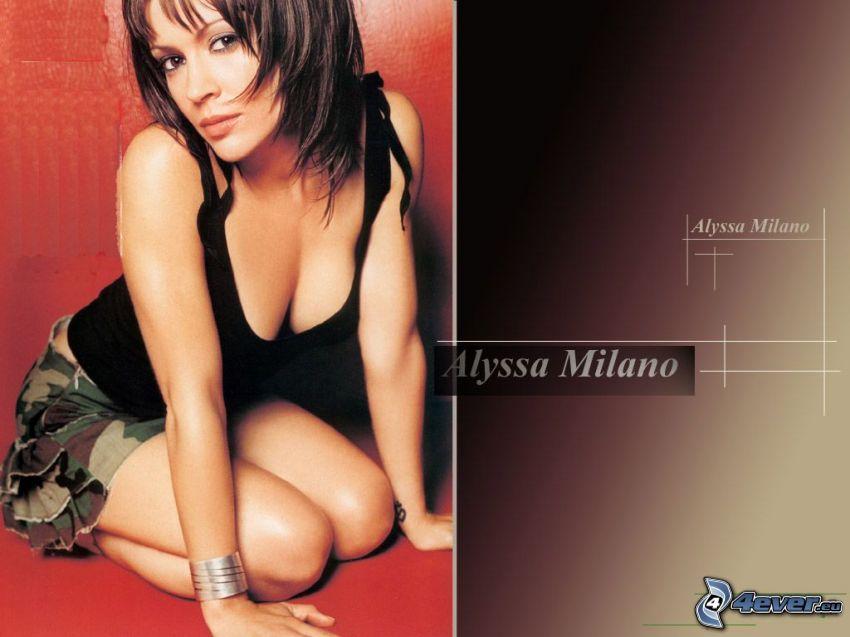 Alyssa Milano, Schauspielerin, Phoebe, eine Hexe, Charmed, braun haarig Frau, schwarzes T-Shirt, Minirock