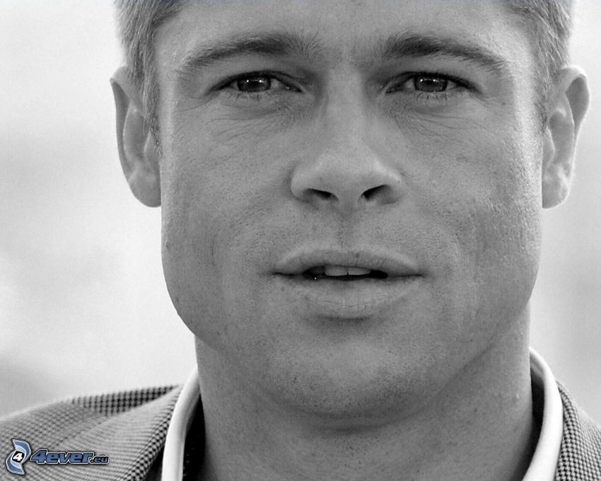 Brad Pitt, Schwarzweiß Foto