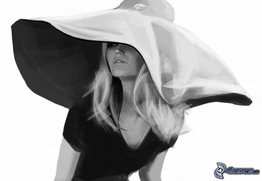 Brigitte Bardot, gezeichnete Frau, Mädchen mit einem Hut